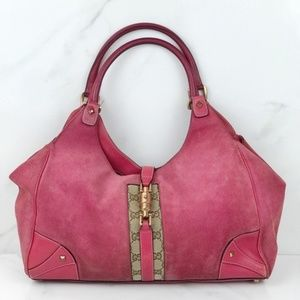 Gucci Pink Suede Hobo Monogram Purse Bag Canvas